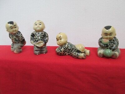 Vintage Set of Chinese / Japanese Little Boys Four Peach Resin Figurines