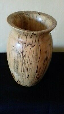 Unusual Hand turned tiger wood vase 6.5 inches in pristine condition
