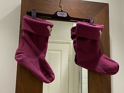 Girls Little Joules Wellington Socks Liners Berry Size Junior - L. Uk 1 - 3. Vgc