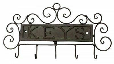 French Country Vintage Inspired Wall Art KEYS Wrought Iron Key Hooks