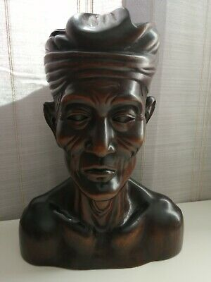 """Vintage Balinese Polinesian Wooden Carved Bust 12"""" Wood"""