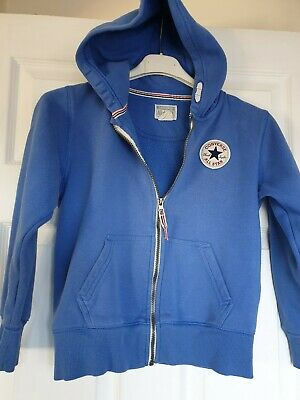 Great Condition Converse All Stars Blue Hooded Sweatshirt Jacket Age 8-10 Years
