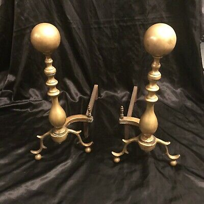 Vintage Brass AAB Cast Iron Fire Dogs Andirons
