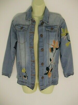 Next Girls 100% Cotton Denim Effect Embroidered Jacket  - For Age 12 Years