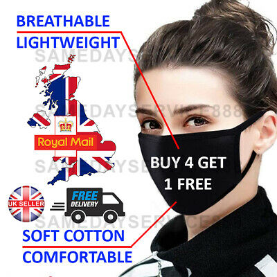 Reusable Cotton Black FACE MASK - Washable | Double Cotton | Adult Masks UK ✅