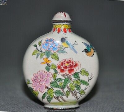 Marked Ancient dynasty Chinese bronze Cloisonne Plum blossom Magpie snuff bottle
