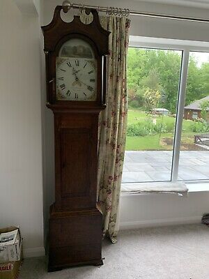 19th century mahogany longcase clock by Samuel Shortman, Newnham. Painted Face
