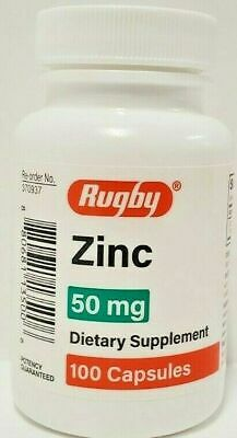 Rugby Zinc 50 mg 100 Capsules Each - Expiration Date 02-2022