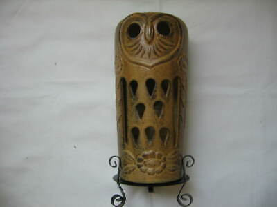 """VTG Pottery """"OWL"""" candle holder-8"""" height(without holder)-accent piece-Brown-"""