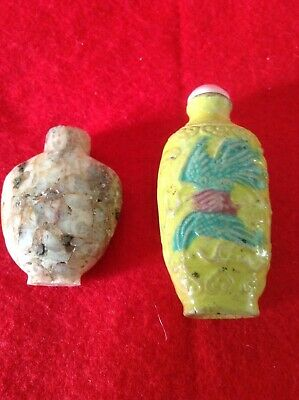 Two Chinese Antique Snuff Bottles (one Jade / Stone, one Porcelain)