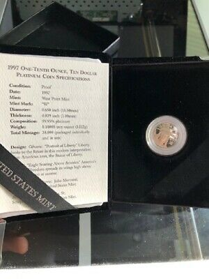 Avc- 1997-W Proof Platinum American Eagle $10 1/10Th Oz. With Ogp