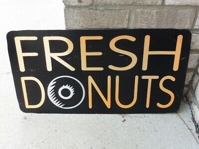 Vintage Fresh Donuts Store Advertising Sign Light Panel w Stylized Donut O As Is