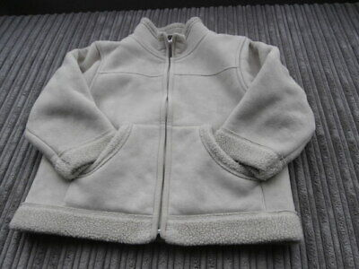 NEXT GIRLS AGE 4yrs BEIGE ZIPPED JACKET COAT + SHERPA FLEECE LINING WORN ONCE