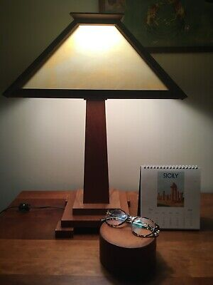 Arts and Crafts, Mission Style Reproduction, Cherry Table Lamp.
