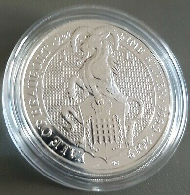 2oz (OUNCE) FINE 999 SILVER 2019 QUEENS BEAST YALE COIN NEW IN CAPSULE (LAST ONE