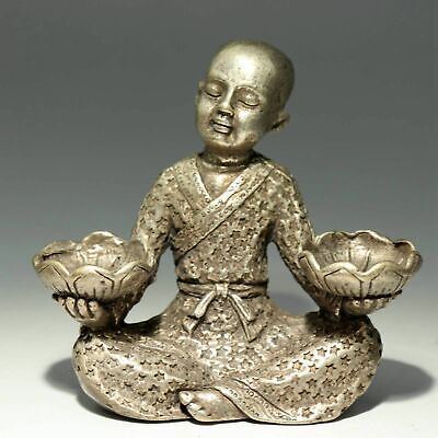 Collect China Old MIao Silver Hand-Carved Monk & Bloomy Lotus Delicate Statue