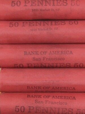 (FIVE) BoA SF Lincoln Wheat Cent Penny Rolls 250 Pennies 1909-1958 P D S