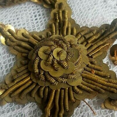 A Lot of 6 Gold Metal Bullion Star Appliques w/Gold Metal Spangles French