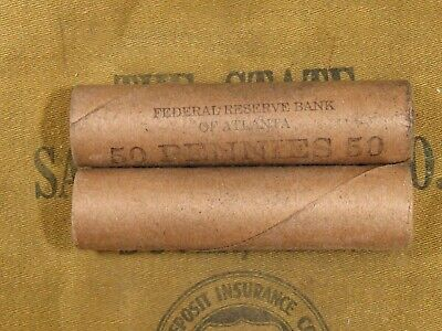 (ONE) Uncirculated FRB Atlanta Lincoln Wheat 50 Cent Penny Roll 1909-1958 PDS