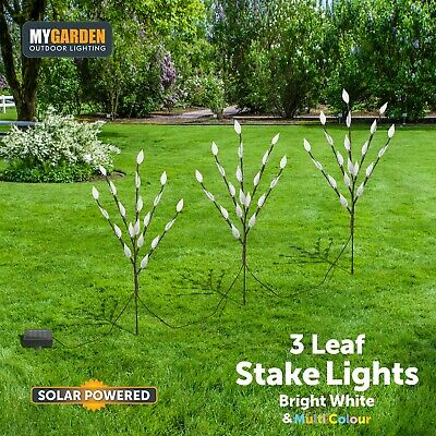 3 x Stylish Branch Tree Twig Leaf Solar Garden 60 White/Multi Coloured LED Light