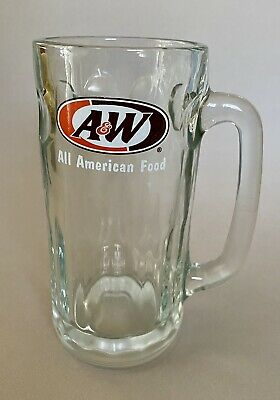 Vintage A&W ROOT BEER All American Food 7 in. Glass Mug Oval Logo FREE SHIPPING