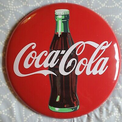 """Coca-Cola 12"""" Diameter x 1"""" Depth Round Metal Sign Red with Green Bottle 1990"""