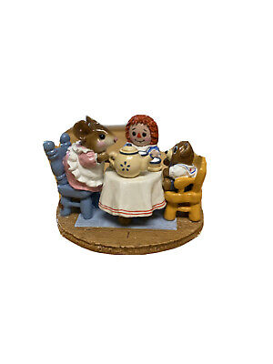 Wee Forest Folk M-177 Tea for Three -Mouse, teddy, Raggedy 1991 Donna Petersen