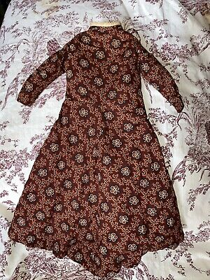 Antique Early Calico Linen Hand Sewn 19th Century Doll Dress