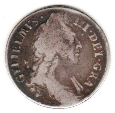 1696 England William III Sterling Silver Colonial Times Shilling.