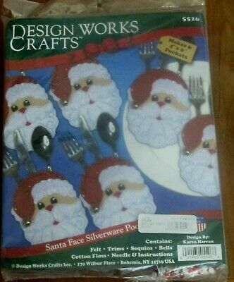 Felt Embroidery Kit ~ Set of 6 Santa Faces Silverware Pockets #DW5526 SALE!