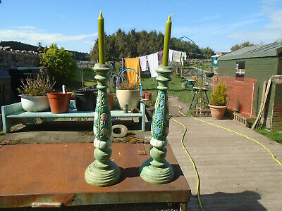 Large Turned And Carved Pair Of Hand Painted Folk Art Candlesticks