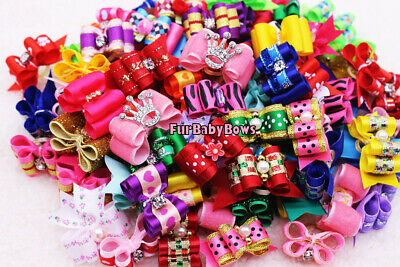 40x PET Puppy grooming dog hair clip Bow Yorkie* 1 FREE Valentine Pink Crown Bow