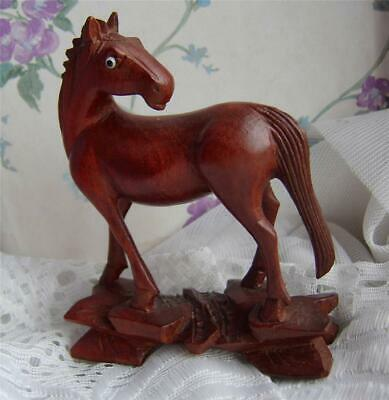 Fine Vintage Antique HAND CARVED Chinese ROOT WOOD Figure of a HORSE Ornament