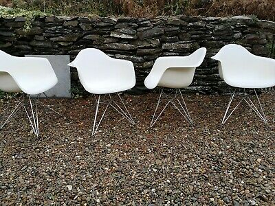 4 Vitra Eames style shell dining chairs with eiffel legs