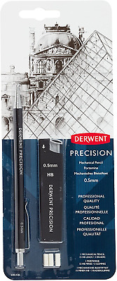 Derwent 0.5 mm Precision Mechanical Pencil, HB Leads and Erasers Included,