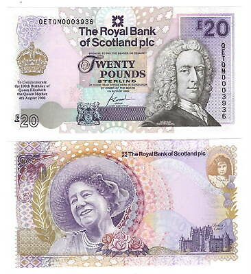 UNC 2000 Royal Bank of SCOTLAND £20 Pounds The Queen Mother Banknote P-361