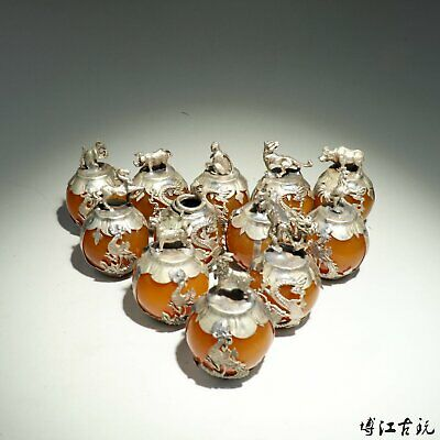 Collectable China Old Miao Silver Armour Agate Carve 12 Zodiac Delicate Statue