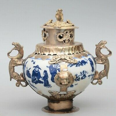 Collectable China Old Miao Silver Armour Porcelain Carve Monkey & Dragon Censer