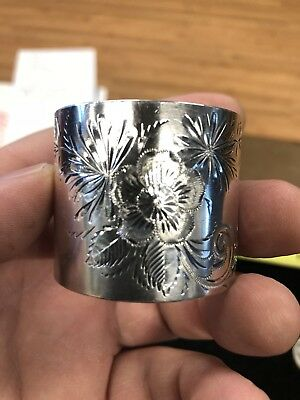 Antique Sterling Floral Bright Cut Extra Heavy Napkin Ring_Mono