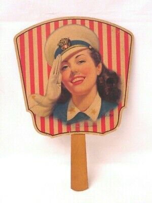 "Vintage ""Miss Liberty"" Advertising Hand Fan Akins Feed & Seed Co Georgia WWII?"