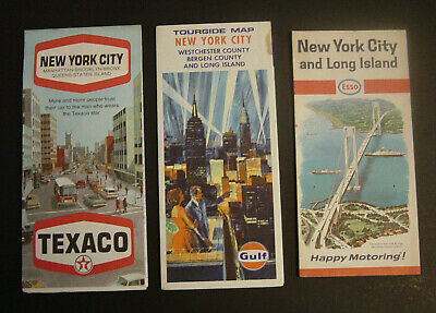 Lot of 3 1960s 1970s New York City Road Street Travel Maps Texaco Esso Gulf Vtg