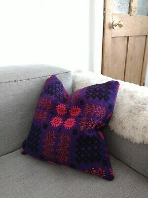 Welsh Tapestry Blanket Cushion Pink And Purple