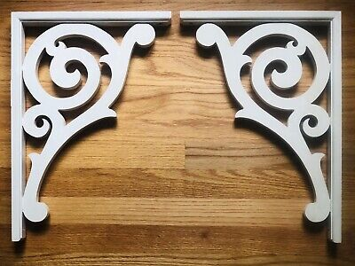 PAIR SALVAGE Victorian French Country Wood Corbels Shelf Mantle Support Bracket