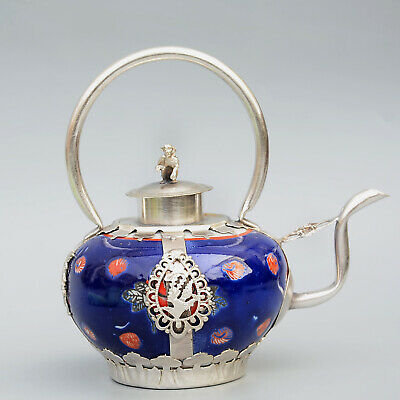 Collect Old Miao Silver Armour Porcelain Hand-Carve Monkey & Myth Dragon Tea Pot
