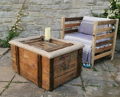 Antique Victorian Pine Steamer Chest Blanket Box Coffee Table  Storage