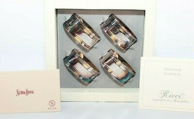 Vintage Napkin Holder Ricci Silver Plated Argentieri Set of 4 Authentic Italian
