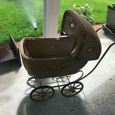 Antique F.A. Whitney Wicker Baby Carriage Stroller
