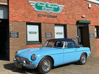1963 MGB Roadster, Iris Blue, wire wheels and overdrive, stunning car