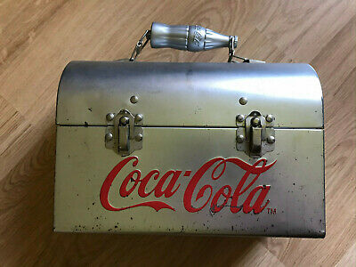 Coca Cola Metal Lunch Box w/ various Coke branded items