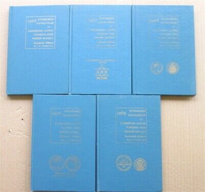 5 Vintage Catalog of Canadian Coins Tokens & Paper Money 1966 - 1970 Charlton